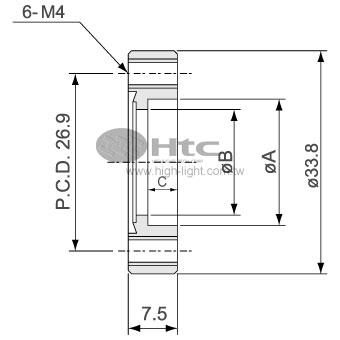 CF16中空フランジ(回転不能-タップボルト穴)