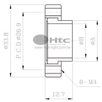 CF16中空フランジ(回転可能-ショート-タップボルト穴)