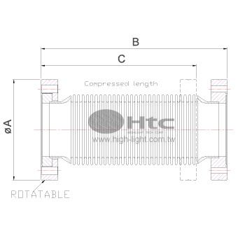 CF圧縮可能なベローズ接続(回転可能)