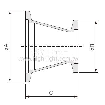 KF-KF 円錐形縮小アダプター