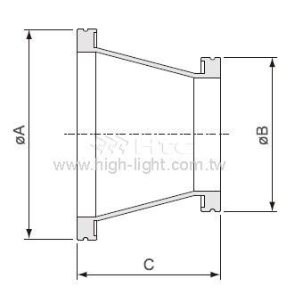 ISO-ISO 円錐形縮小アダプター