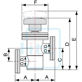 Z型インライ真空バルブ-ベローズシール&ボンネットガスケット-CFフランジ(回転)