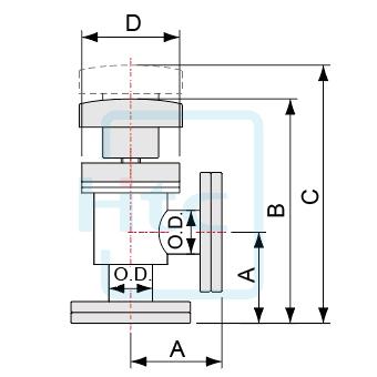 手動式アングルバルブ-ベローズシール-CFフランジ(回転式)-ヨーロッパ規格