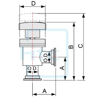 手動式アングルバルブ-ベローズシール-NWフランジ-ヨーロッパ規格