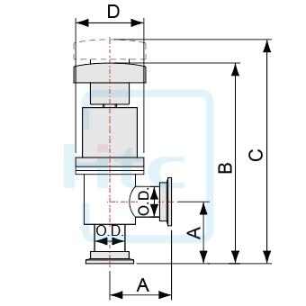 手動式アングルバルブ-軸シール-KFフランジ-ヨーロッパ規格