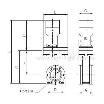 手動式小型-UHV ゲートバルブ(Lタイプ)