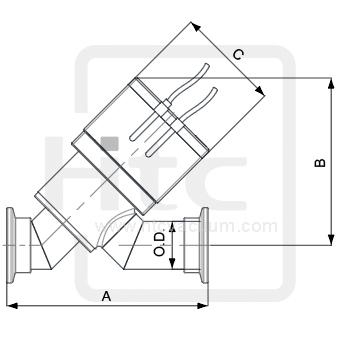 高真空閥門含成形波紋管常閉氣動式Y型閥門(不銹鋼本體)