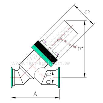 Pneumatic Y-inline Teflon Coating Vacuum Valve