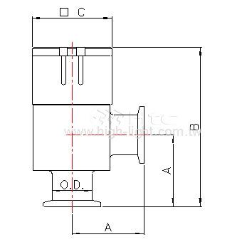 圧空式アルミ製アングルバルブ-単動
